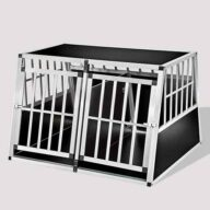 Aluminum Dog cage: Pet Products, Dog Goods Large Double Door Dog cage With Separate board 06-0778 Large Double Door Dog cage With Separate board 06-0778