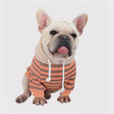 Pet Factory Wholesale Striped Rabbit Lambskin Hoodie Dog Clothes06-1382