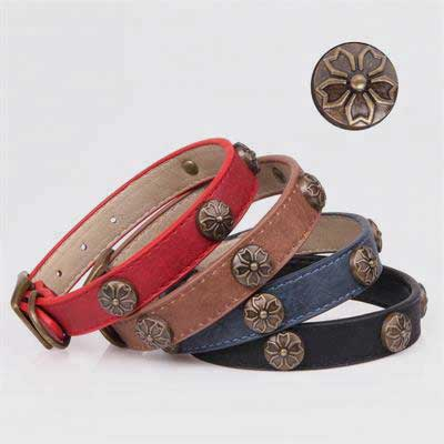 Leather Dog Collar: Cherry-blossom Accessories 06-0591