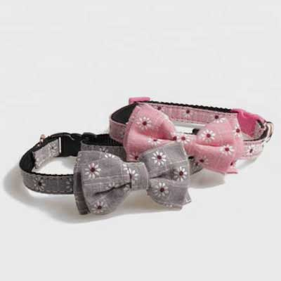 Flower Dog Collar: Cotton Triangle Pet Scarf Print 06-0611