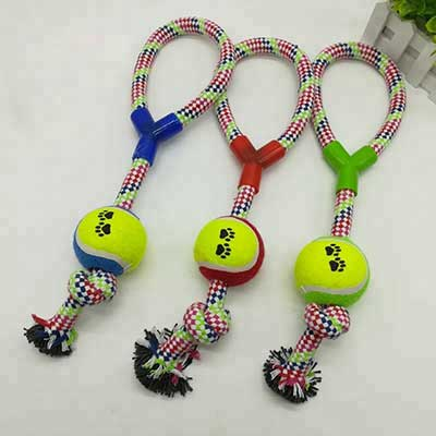Pet Dog Training: Colorful Tennis with Cotton Rope 06-0661