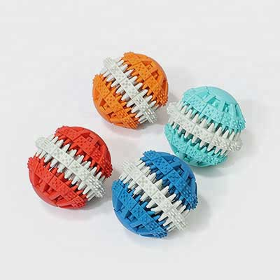 Pet Molar Bite Toy: Rubber Teeth Clean Ball Chewing 06-0668