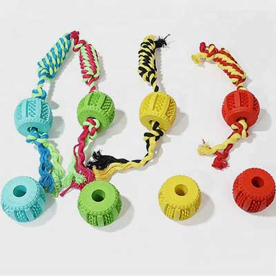 Rubber Pet Toy: Molar Drum Wearing Rope Interactive 06-0685