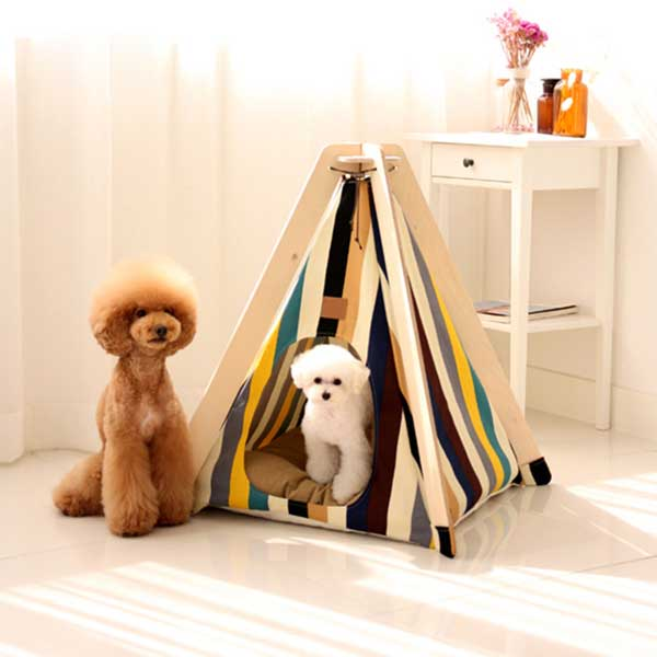 Animal Dog Teepee: Dog Bed Tent Stripe Portable Folding Small Pet Tent House 06-0955