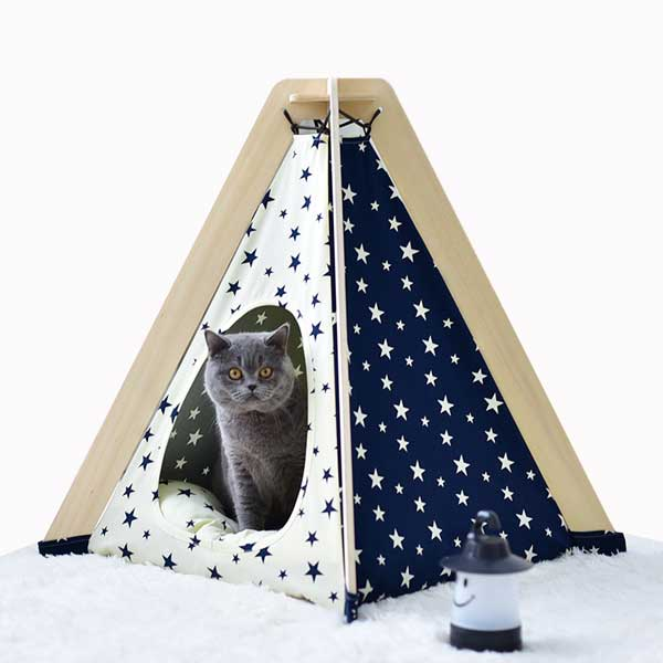 Dog Show Tent: OEM 100%Cotton Canvas Dog&Cat Star Tent Indoor Dog Tipi Tent Foldable 06-0956