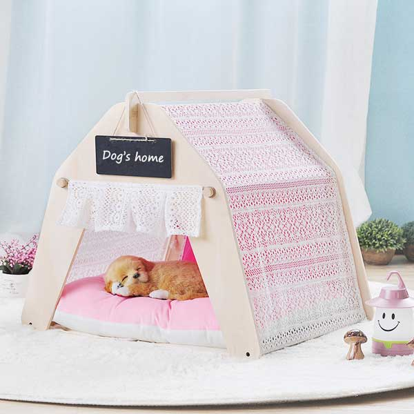 Indoor Portable Lace Tent: Pink Lace Teepee Small Animal Dog House Tent 06-0959